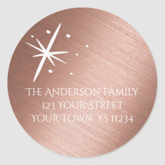 Rose Gold Star Round Sticker