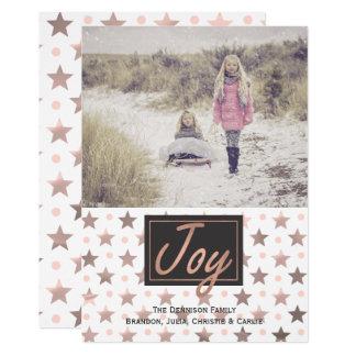 Rose Gold Stars Christmas Photo Greeting Card