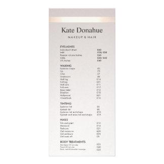 Rose Gold Stripe Taupe Salon Price List Menu
