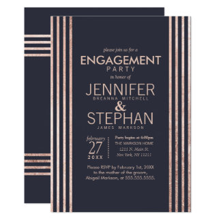 Rose Gold Stripes and Navy Blue Engagement Party Card