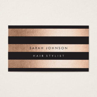 Rose Gold Stripes Hair Stylist Appointment Cards