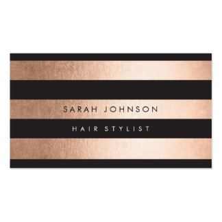 Rose Gold Stripes Hair Stylist Appointment Cards Pack Of Standard Business Cards