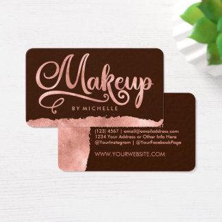 Rose Gold Swash on Brown MAKEUP Artist Bizcards Business Card