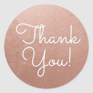 Rose Gold Thank You Classic Round Sticker