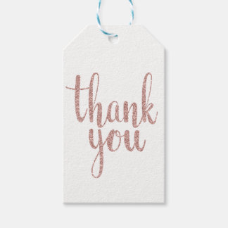 Rose gold thank you favor tags, glitter, vertical