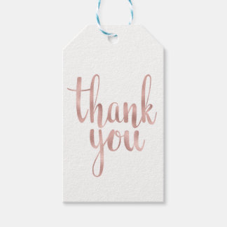 Rose gold thank you favour tags, foil, vertical