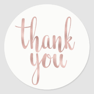 Rose gold thank you stickers, foil, round round sticker