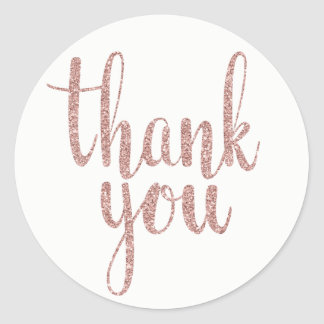 Rose gold thank you stickers, glitter, round round sticker