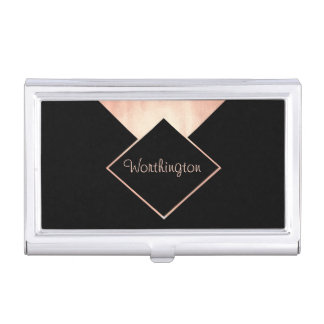 Rose Gold Trendy Modern Professional Business Business Card Holder