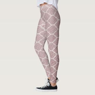 Rose Gold Trendy | Quatrefoil Pattern Moroccan Leggings