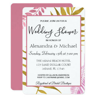 Rose Gold Tropical Floral Couple's Shower Card