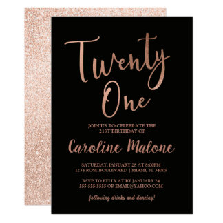 Rose Gold Twenty One Birthday Invitation