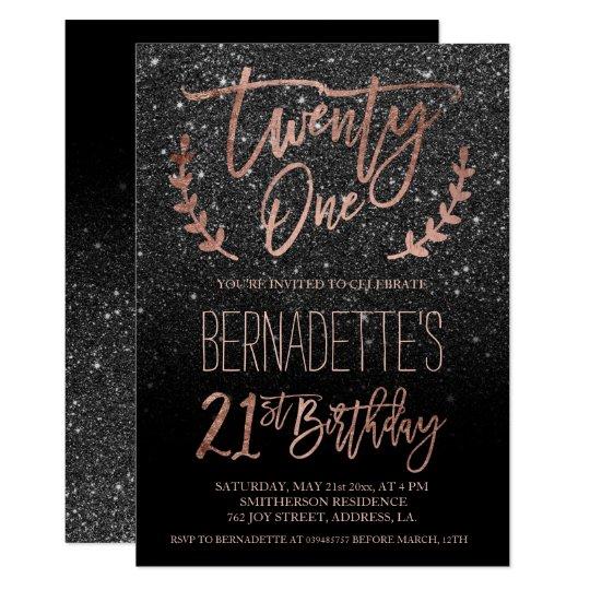 Rose Gold Typography Black Glitter 21st Birthday