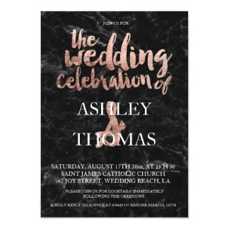Rose gold typography black marble wedding 13 cm x 18 cm invitation card