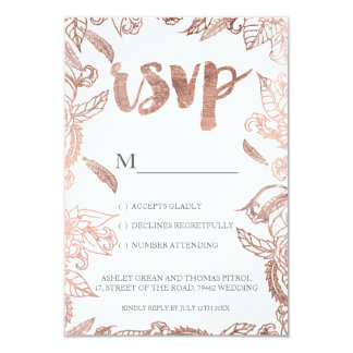 Rose gold typography boho floral rsvp wedding card