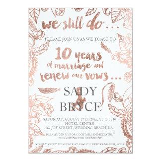 Rose gold typography boho floral vow renewal 3 13 cm x 18 cm invitation card
