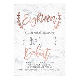 Rose gold typography debut marble 18th Birthday Card