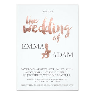 Rose gold typography elegant wedding faux foil 6 13 cm x 18 cm invitation card