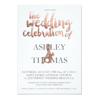 Rose gold typography elegant wedding faux foil card