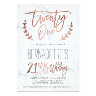 Rose gold typography feathers marble 21st Birthday 13 Cm X 18 Cm Invitation Card
