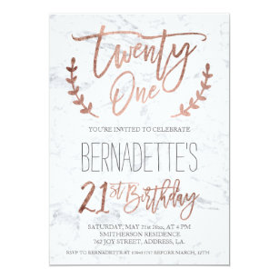 Rose Gold Typography Feathers Marble 21st Birthday Invitation