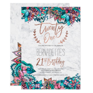Rose gold typography feathers marble floral 21st card