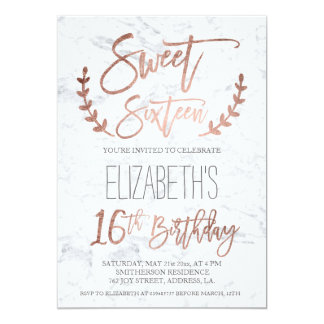 Rose gold typography feathers marble Sweet SIxteen 13 Cm X 18 Cm Invitation Card