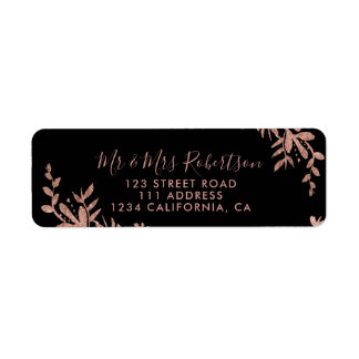 Rose Gold typography floral black chic wedding Return Address Label