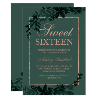 Rose gold typography Floral green leaf Sweet 16 Card