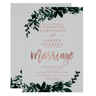 Rose gold typography Floral grey wedding marriage Card