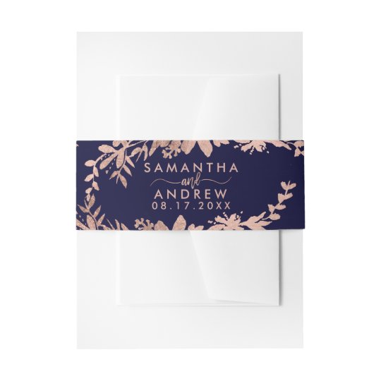 Rose Gold typography floral navy blue chic wedding Invitation Belly Band