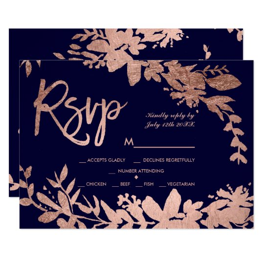 Rose Gold typography floral navy blue rsvp wedding Card