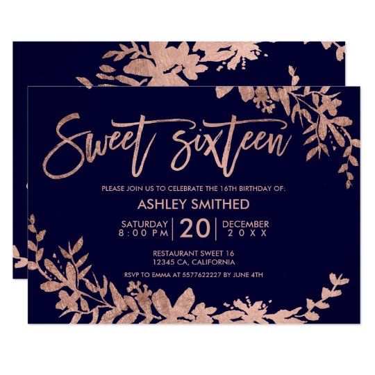 Rose Gold typography floral navy blue sweet 16 Card