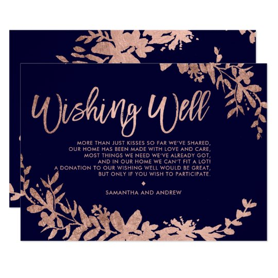 Rose Gold typography floral navy blue wishing well Card