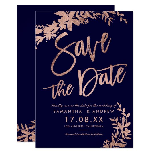 Rose Gold typography floral navy save the date Card