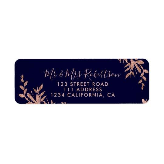 Rose Gold typography leaf floral navy blue wedding Return Address Label