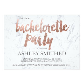 Rose gold typography marble bachelorette party 13 cm x 18 cm invitation card