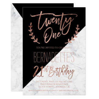 Rose gold typography marble block 21st Birthday Card