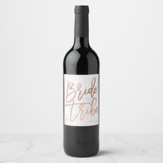 Rose gold typography marble bride tribe wine label