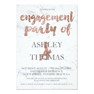 Rose gold typography marble engagement party 2 13 cm x 18 cm invitation card