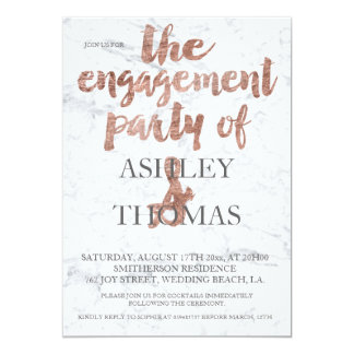 Rose gold typography marble engagement party 3 card
