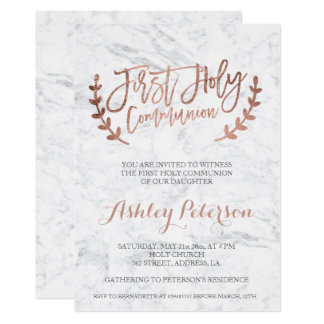Rose gold typography marble First Holy Communion Card