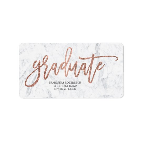 Rose gold typography marble graduation address label