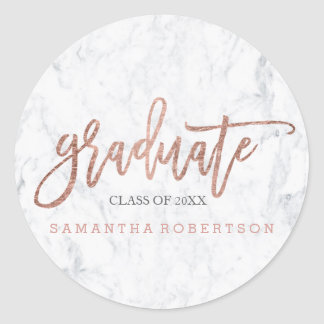 Rose gold typography marble graduation round sticker