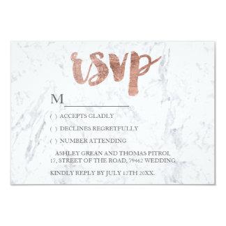Rose gold typography marble RSVP Wedding 9 Cm X 13 Cm Invitation Card