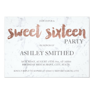 Rose gold typography marble Sweet 16 13 Cm X 18 Cm Invitation Card