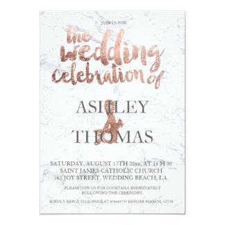 Rose gold typography marble wedding 13 cm x 18 cm invitation card
