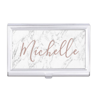 Rose Gold Typography Modern White Marble Business Card Holder