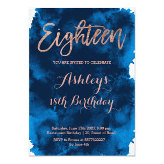 Rose gold typography navy blue watercolor eighteen card
