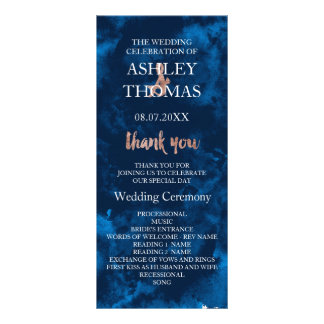 Rose gold typography navy blue wedding program rack card